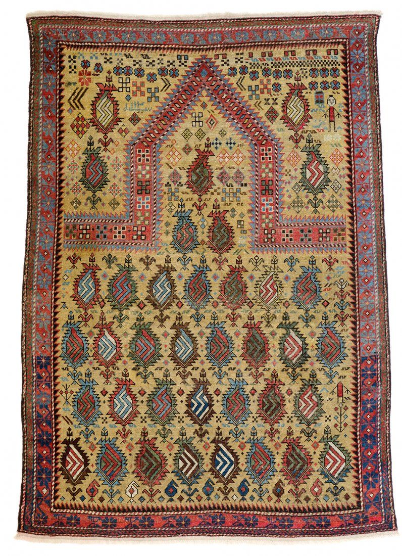 "Marasali prayer rug, published ""Textil Kunst Feuer"" TKF 1999 plate 54 - Sept 16, 2014 - Austria Auction Company - Caucasus early 19"